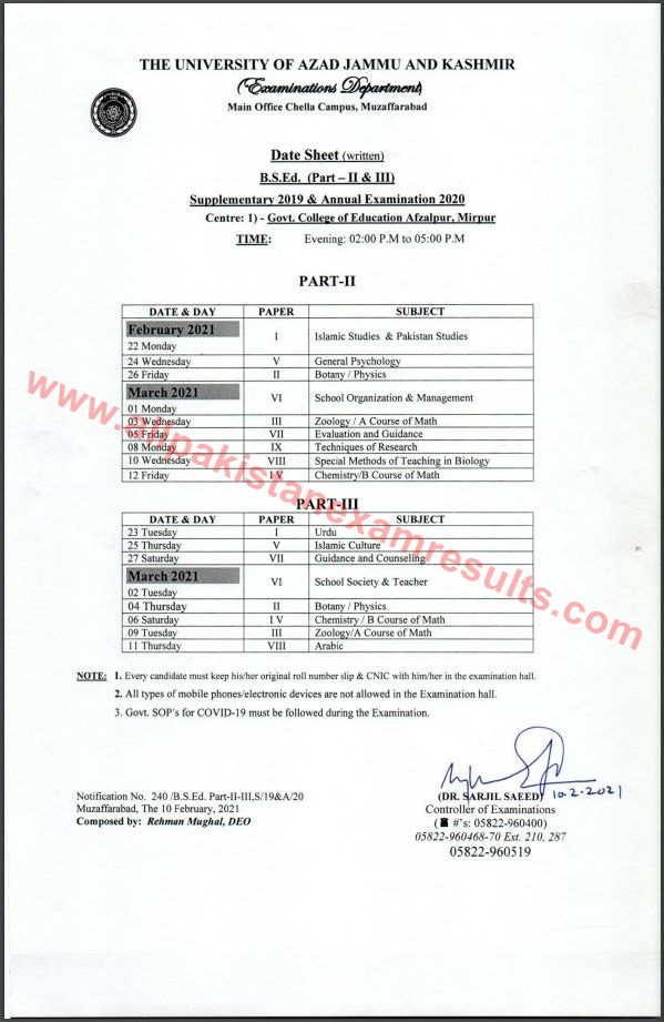 Date Sheet BS.Ed AJK University Annual Exam 2020