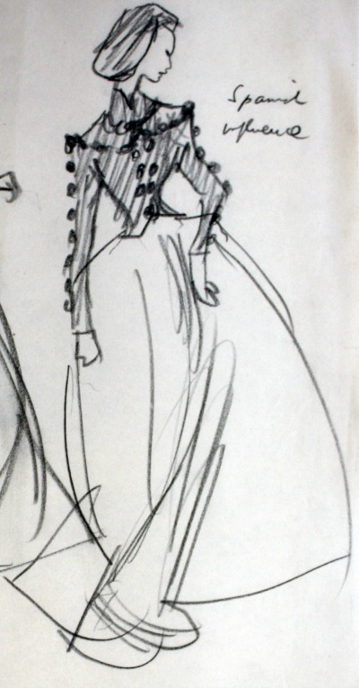 "Pencil drawn sketch of Balenciaga's 1939 ""Infanta"" design"