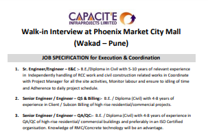 Capacitˡe Infraproject Ltd Recruitment For ITI, Diploma, B.E. Candidates || Walk In Interview