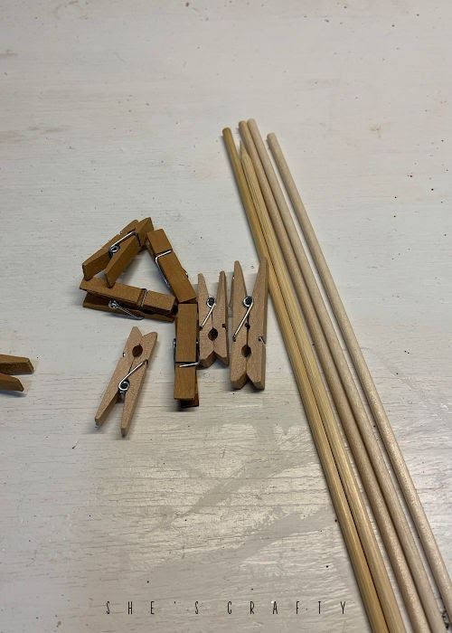 Plant Clip Holders - make holders from clothes pins and skewers