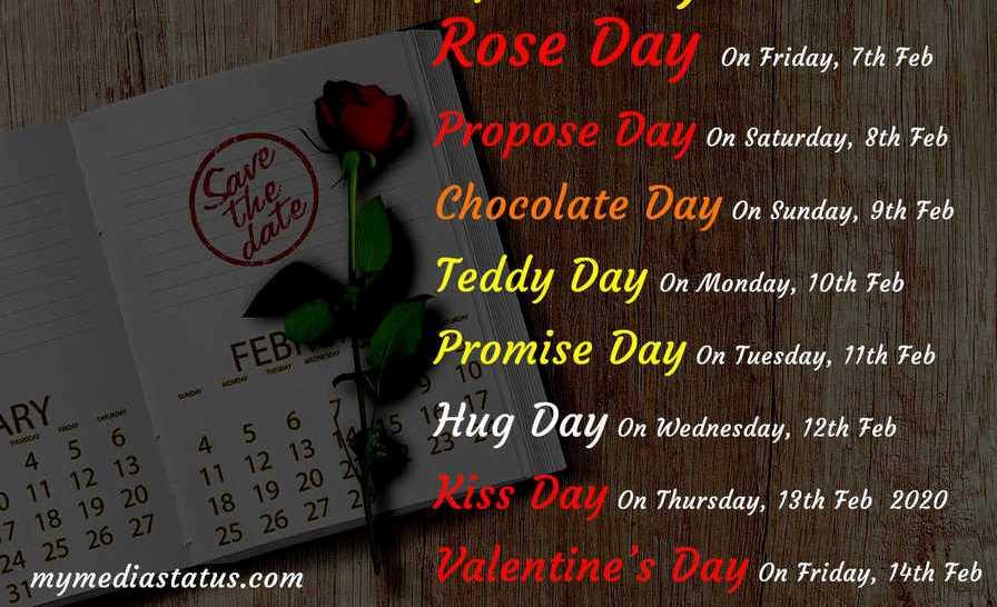 Valentine Day Week Start 7 Feb to 21 Feb days list 2021