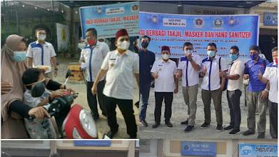Alhamdulillah......Kolaborasi Notaris Ragil, Rel-Akhlag Dan PWI Pelalawan Berbagi Takjil, Masker, Hand Sanitizer