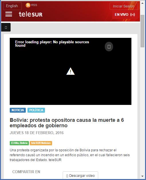 Captura de pantalla antes que se eliminada la noticia del portal de Telesur