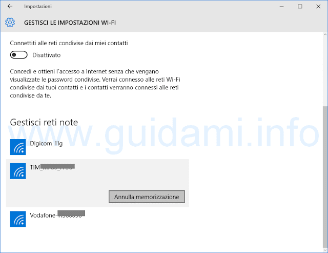 Windows 10 Gestisci reti WiFi note