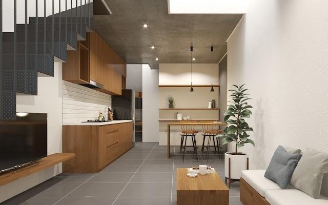 Nội thất nhà phố tối giản, hiện đại và mộc mạc kèm model 3d SU