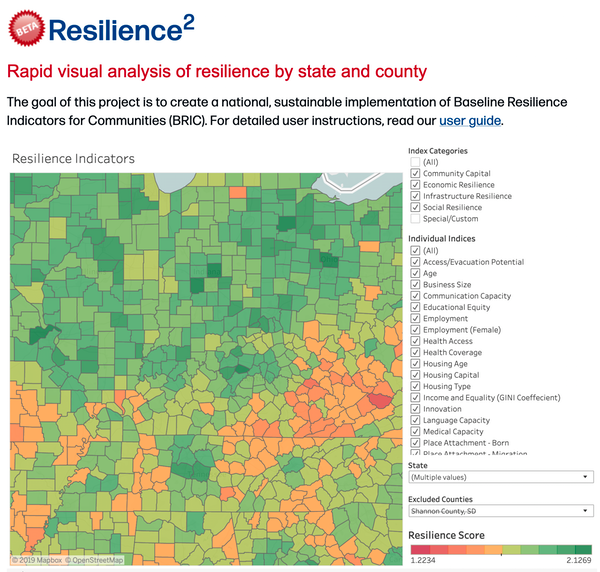 Chart Attribute: Resilience2 allows rapid analysis of disaster resilience at the state and county level. / Source: David Wild, CC BY-SA