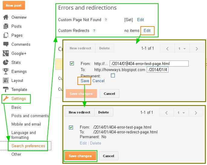 구글블로그 사용법: 페이지 리다이렉션 설정 (Custom redirects)