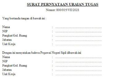 Surat Pernyataan Uraian Tugas Terbaru