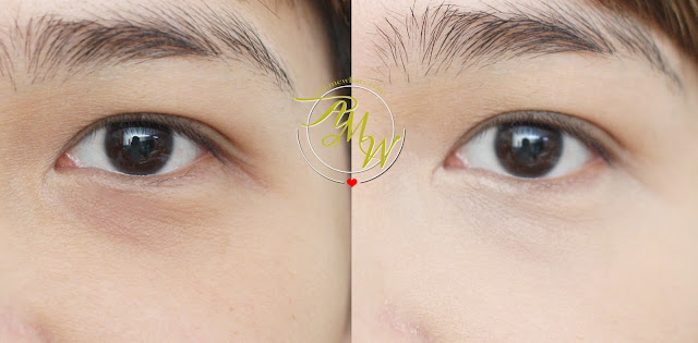 a before and after photo of Maybelline Fit Me! concealer