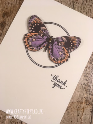 Simple handmade butterfly card created with the Eastern Beauty stamp set and the Botanical Butterfly Designer Series Paper by Stampin' Up!