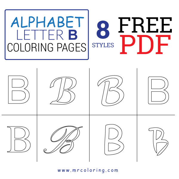 Alphabet letter B coloring pages Uppercase or Capital free pdf for kids