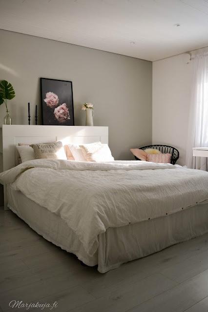 makuuhuone sänky pioni petaus pellava jotex skandinaavinen sisustus