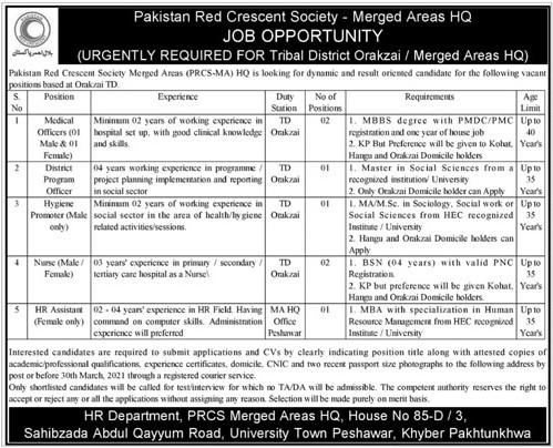 Pakistan Red Crescent Society Jobs 2021 - PRCS Jobs 2021 - Pakistan Red Crescent Society (PRCS) Jobs 2021 in Pakistan
