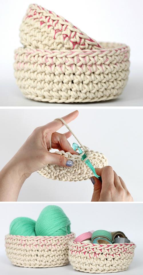 Color Block Crochet Basket - Free Pattern