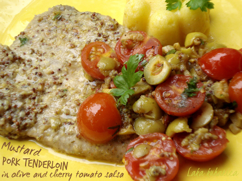 Olive and cherry tomato salsa makes these succulent pork steaks a real treat.