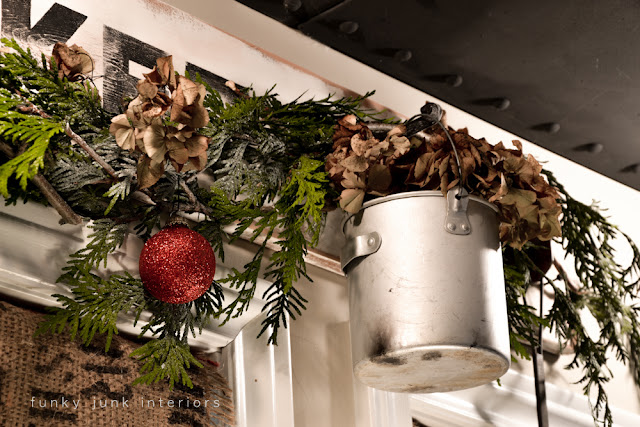 Christmas old window picture in the kitchen, viahttps://www.funkyjunkinteriors.net/