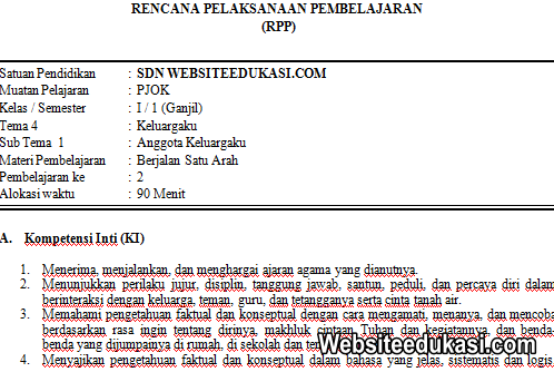 RPP PJOK Kelas 1 Tema 4 Kurikulum 2013 Revisi 2019