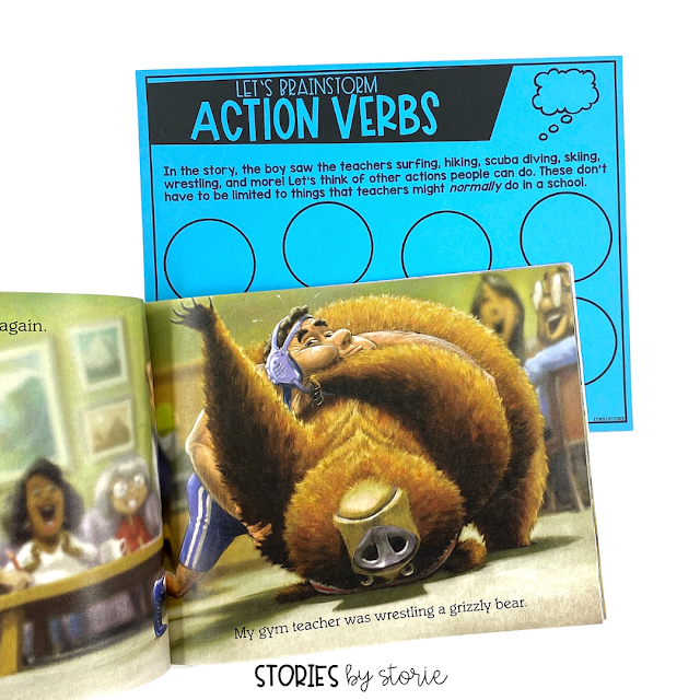 After reading What I Saw in the Teachers' Lounge, discuss the verbs and actions used in the story. As a class, brainstorm more verbs or actions that were not included. Students will use these verbs to create their own page.