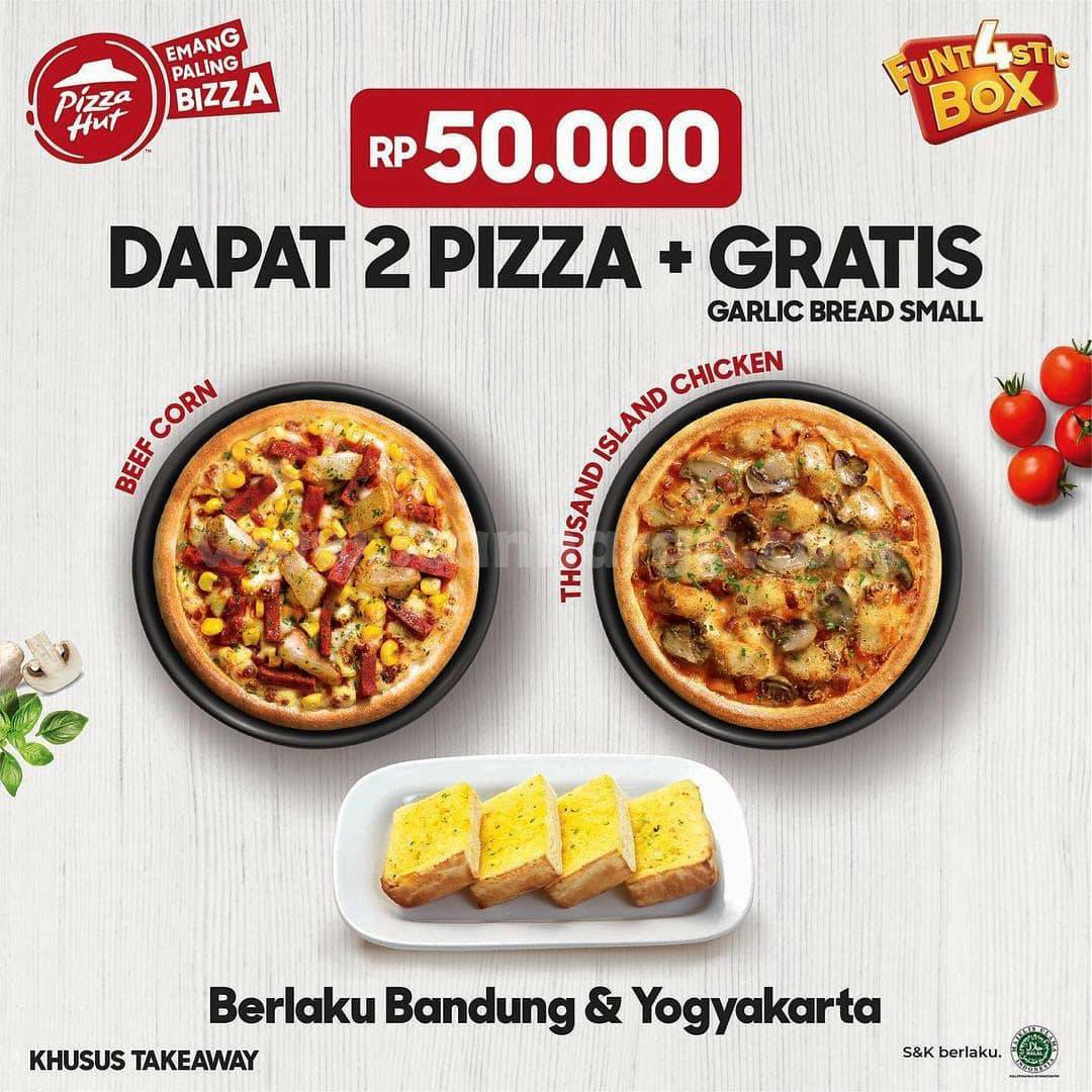 PIZZA HUT Promo Funt4stic Box GRATIS Garlic Bread atau 1 Pan Beef Corn*