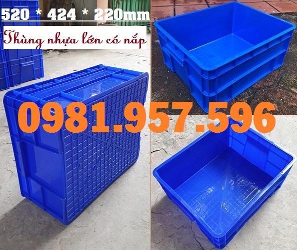 Hộp nhựa công nghiệp có nắp, thùng nhựa có nắp, hộp nhựa B8