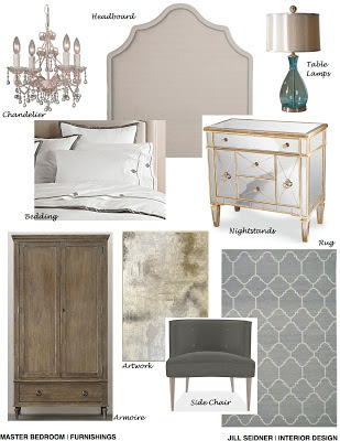 Arcadia CA Residence Online Design Project Master Bedroom Furnishings Concept Board