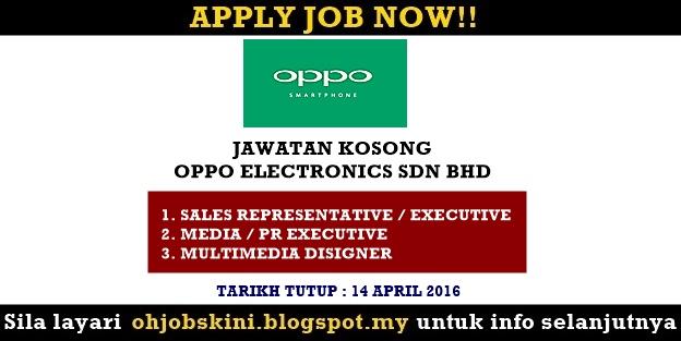 Jawatan Kosong OPPO Electronics Sdn Bhd