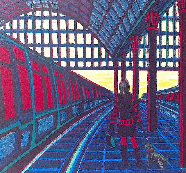 Gail Brodholt art, train station