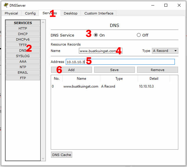 Konfigurasi DNS Server di Cisco Packet Tracer