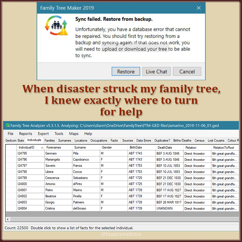 Having documentation and good tools can help you recover from a family tree disaster.