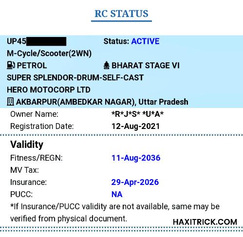 Check RC Details