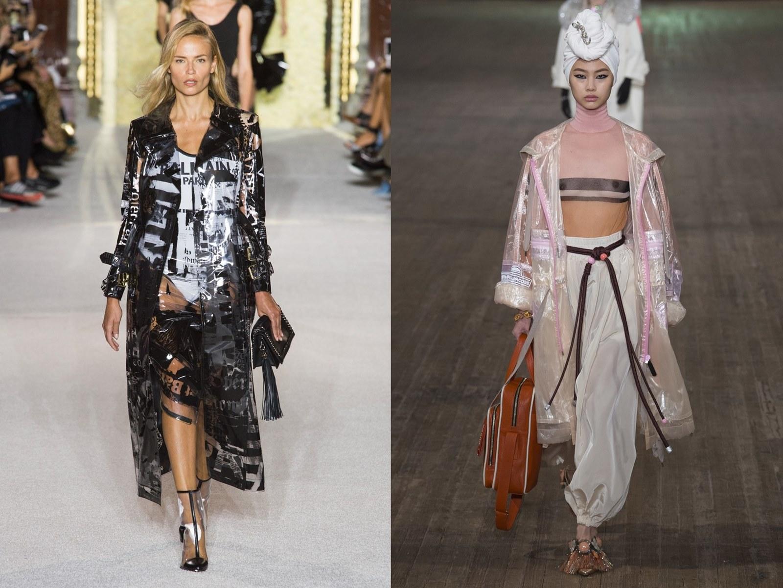 Trendy wiosna/lato 2018. Co modnego będzie na wiosnę/lato 2018? Cekiny, plastik, plastikowe ubrania, siatka, jeans, frędzle