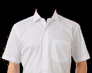 Preview template kemeja putih transparan polos lengan pendek