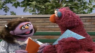 Telly Monster makes friends with a fellow triangle lover. Sesame Street Preschool is Cool Making Friends