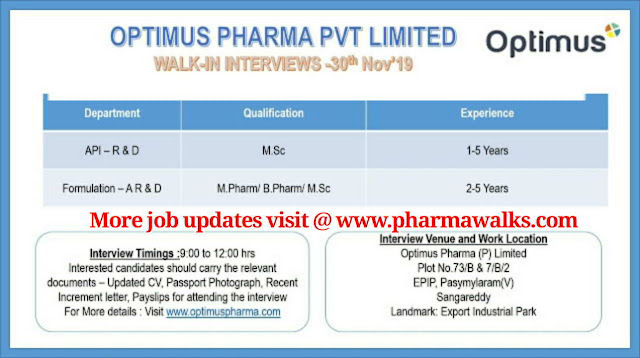 Walk-in interview for R&D / AR&D on 30th Nov' 2019 @ Optimus Drugs