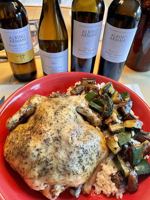 Pinot Grigio pairing with Roasted Chicken and Zucchini Risotto