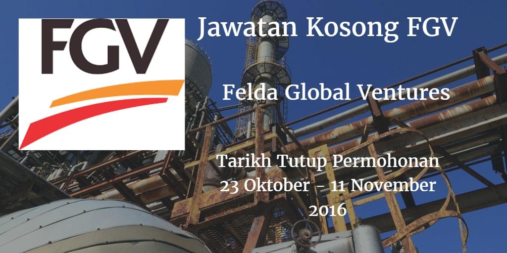Jawatan Kosong FGV 23 Oktober - 11 November 2016