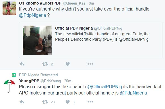 @PdpNigeria and @OfficialPDPNig battle over official Twitter acc