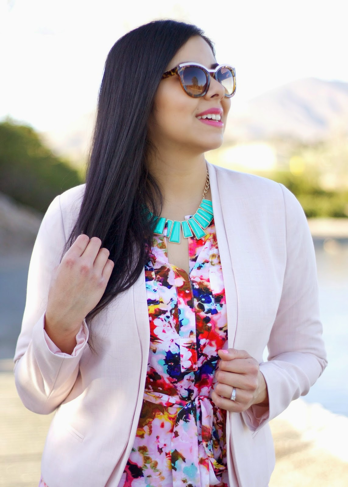 JCP Style, pink florals, teal necklace, forever21 teal necklace, f21 mint necklace, neutrogena lipstick