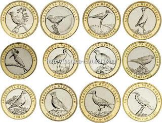 набор монет БИМ биметалл Птицы Анатолии  вторая  серия 12 монет Турция