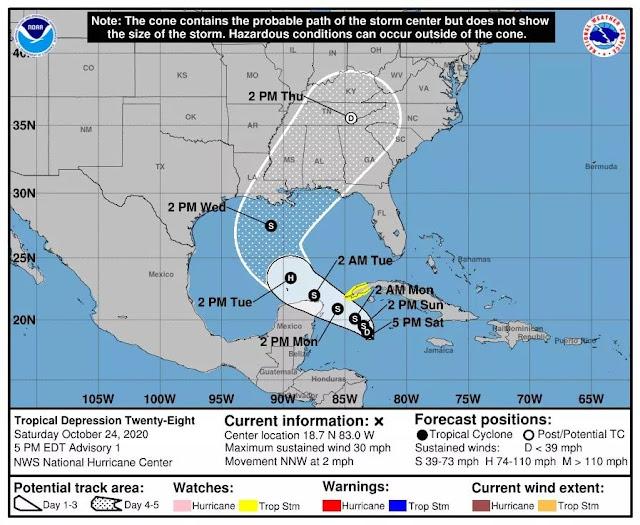 Depresión Tropical 28 rumbo a la Península; el Oriente de Yucatán zona amenazada por lluvias