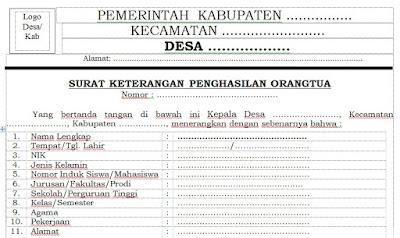 Contoh Surat Keterangan Penghasilan Orang Tua Dari Desa