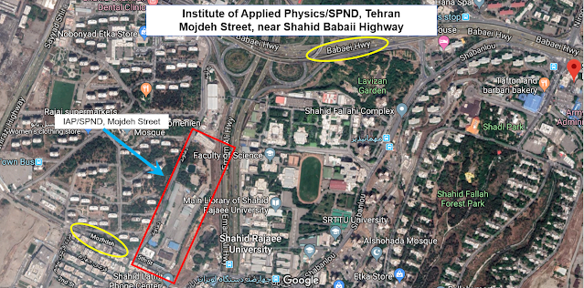 Institute of Applied Physics or IAP uses Mojdeh Street address off Shahid Babaii Highway in Tehran's north-east. Mojdeh street houses a well-known facility owned by SPND, which was first revealed as a military nuclear research location in 2004 by an Iranian dissident group