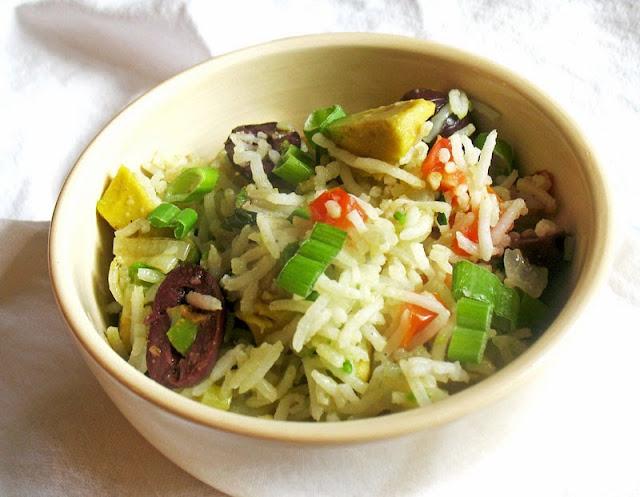 Tomato olive avocado rice