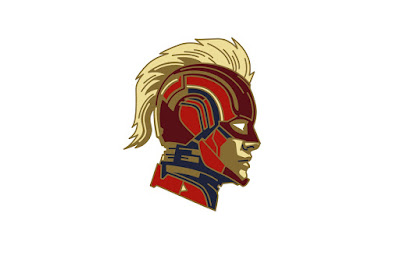Captain Marvel Portrait Enamel Pin by Matt Taylor x Mondo x Alamo Drafthouse x Marvel Comics
