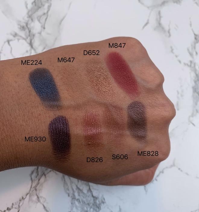 make up for ever (mufe) artist color eyeshadows swatches on dark skin (ME224, M647, D652, M847, ME930, D826, S606, ME828)