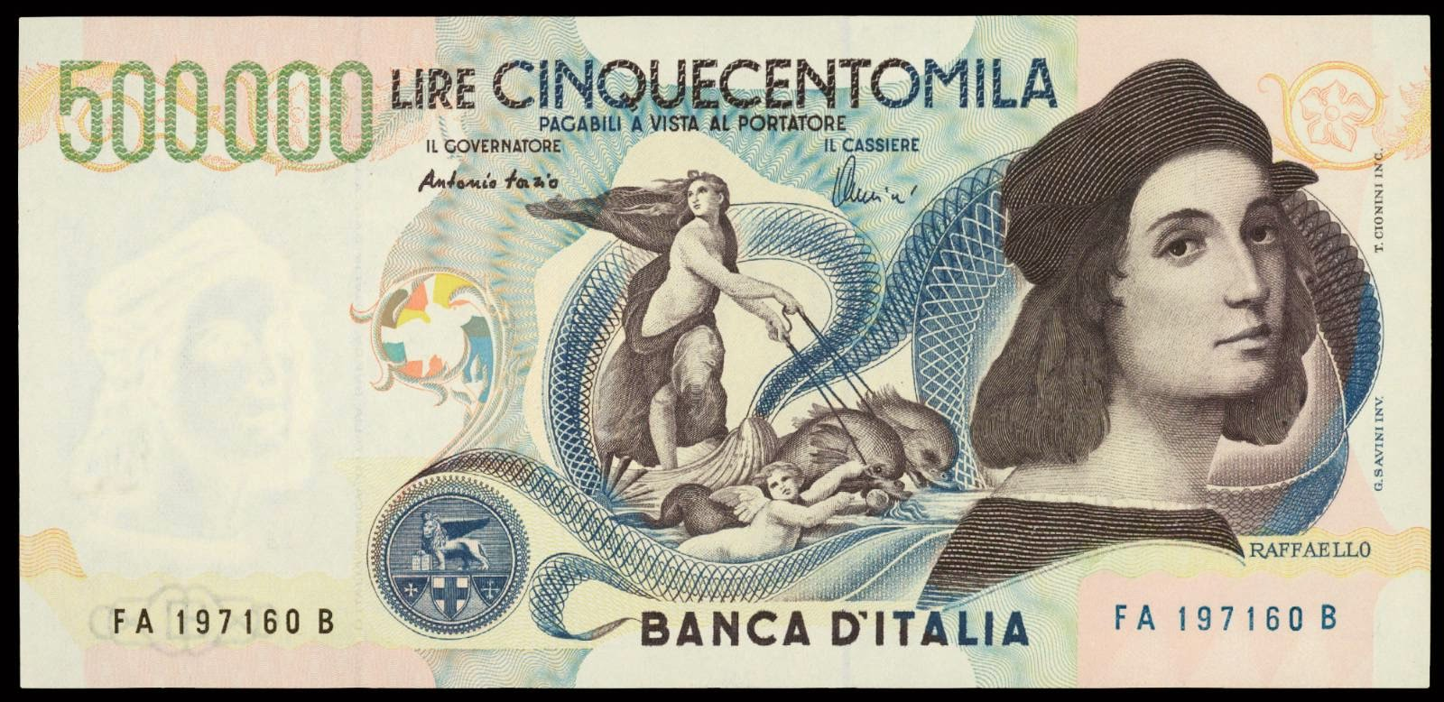 Italy banknotes 500000 Lire note Raphael