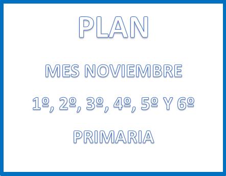 PLAN (mes de noviembre) 1° a 6° PRIMARIA CICLO ESCOLAR  2020-2021.