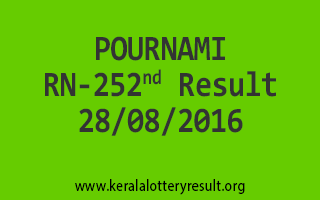 POURNAMI RN 252 Lottery Result 28-08-2016