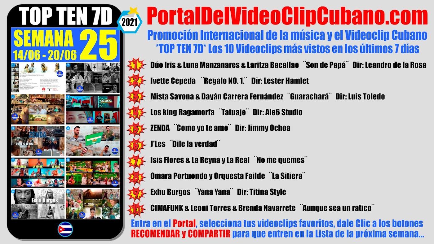Artistas ganadores del * TOP TEN 7D * con los 10 Videoclips más vistos en la semana 25 (14/06 a 20/06 de 2021) en el Portal Del Vídeo Clip Cubano