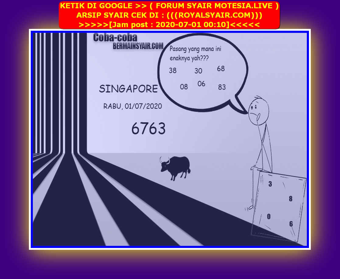 Kode syair Singapore Rabu 1 Juli 2020 210